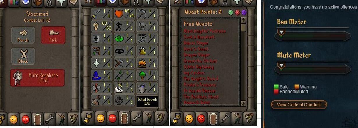 RuneScape CDKey : OldSchool Acc with att1 str60 def1 ranged 1 , it does not bind email ,so it is much safe to buyer.