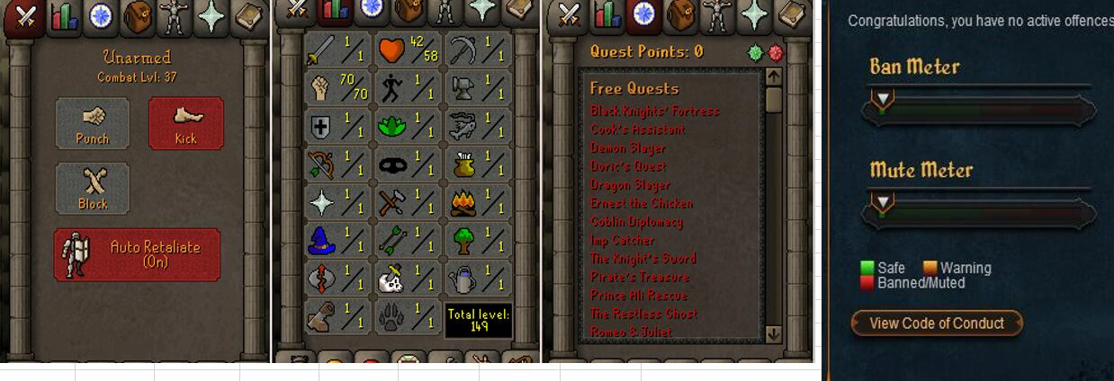 RuneScape CDKey : OldSchool Acc with att1 str70 def1 ranged 1 , it does not bind email ,so it is much safe to buyer.