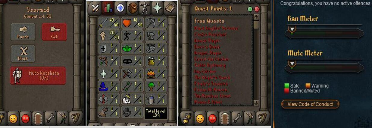 RuneScape CDKey : OldSchool Acc with att40 str70 def1 ranged 1 , it does not bind email ,so it is much safe to buyer.