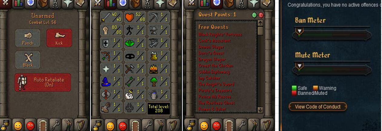 RuneScape CDKey : OldSchool Acc with att40 str80 def1 ranged 1 , it does not bind email ,so it is much safe to buyer.