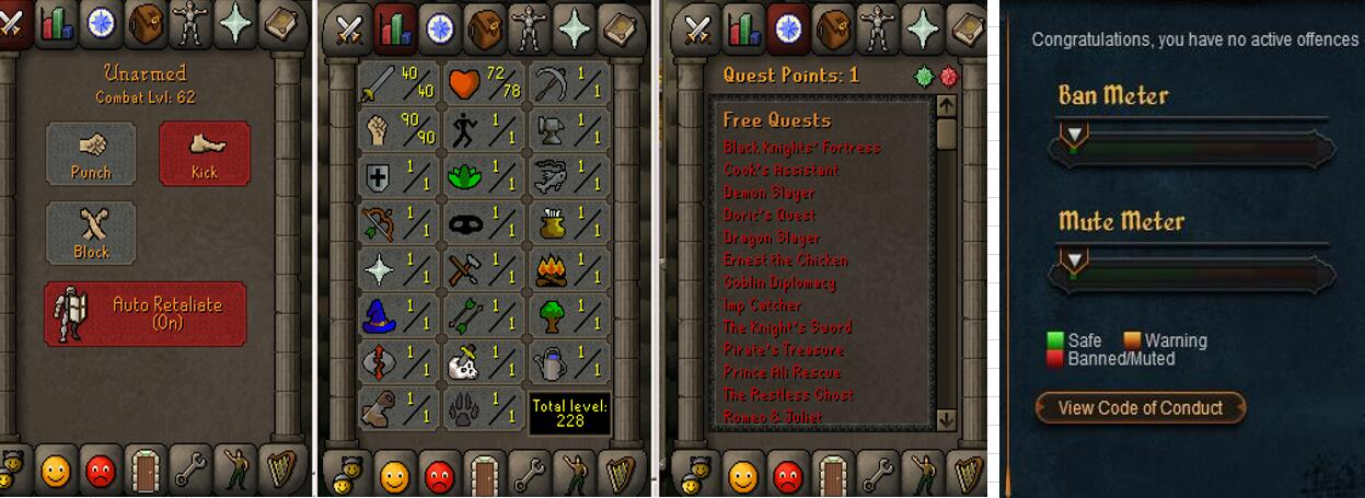 RuneScape CDKey : OldSchool Acc with att40 str90 def1 ranged 1 , it does not bind email ,so it is much safe to buyer.