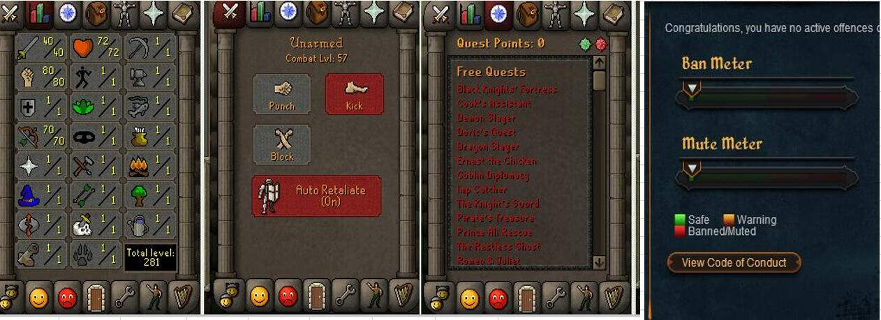 RuneScape CDKey : OldSchool Acc with att40 str80 def1 ranged 70 , it does not bind email ,so it is much safe to buyer.