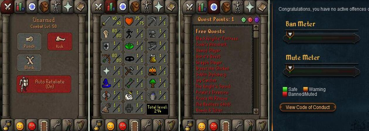 RuneScape CDKey : OldSchool Acc with att40 str80 def1 ranged 80 , it does not bind email ,so it is much safe to buyer.