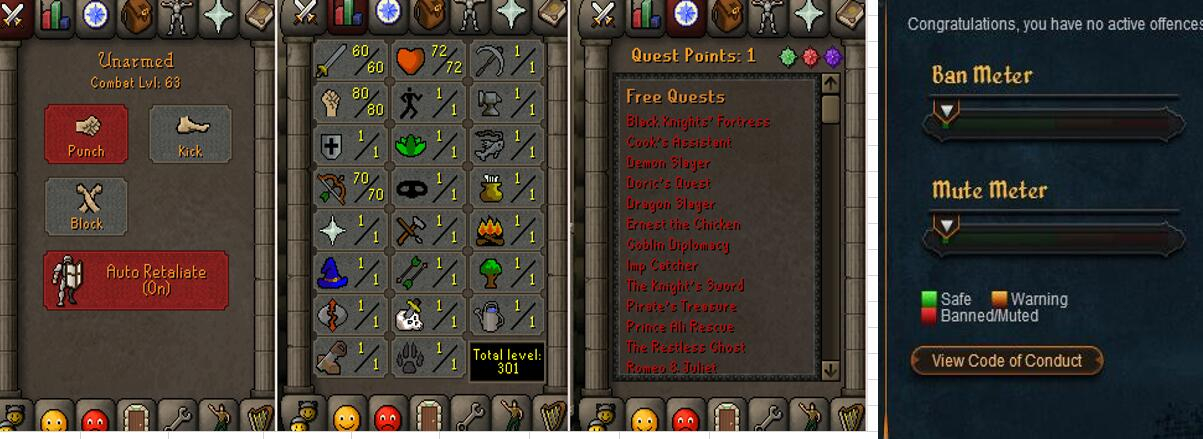 RuneScape CDKey : OldSchool Acc with att60 str80 def1 ranged 70 , it does not bind email ,so it is much safe to buyer.