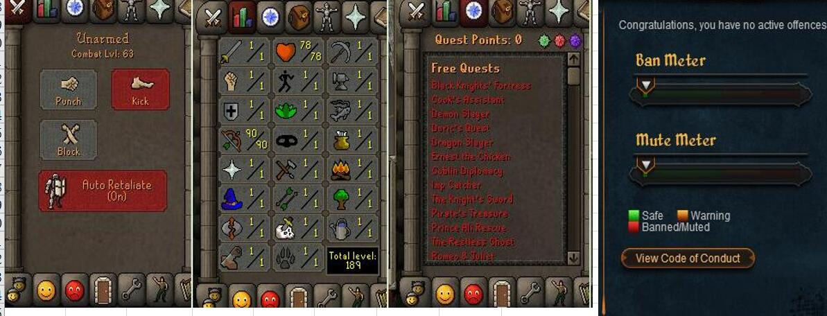 RuneScape CDKey : OldSchool Acc with att1 str1 def90 ranged 1 , it does not bind email ,so it is much safe to buyer.