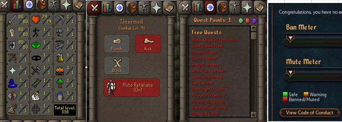RuneScape CDKey : OldSchool Acc with att80 str80 def80 ranged 1 , it does not bind email ,so it is much safe to buyer.