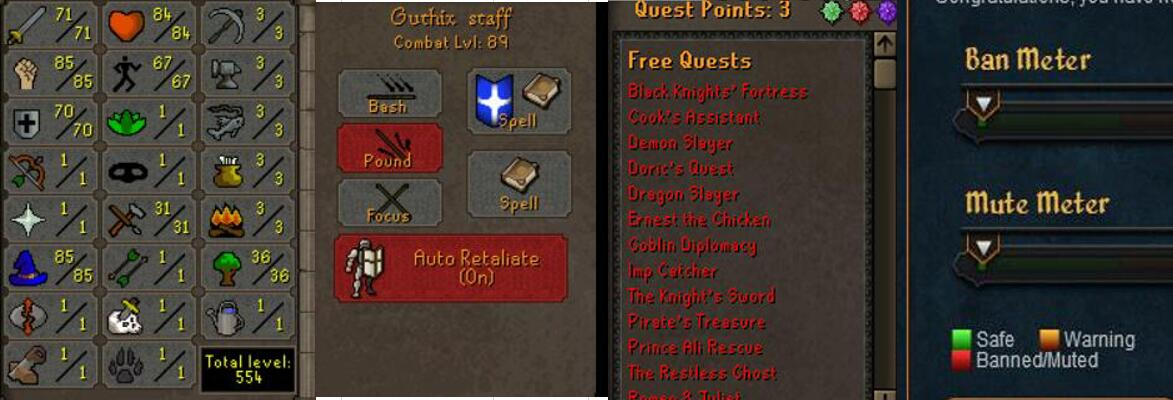RuneScape CDKey : OldSchool Acc with att71 str85 def70 ranged 1 , it does not bind email ,so it is much safe to buyer.
