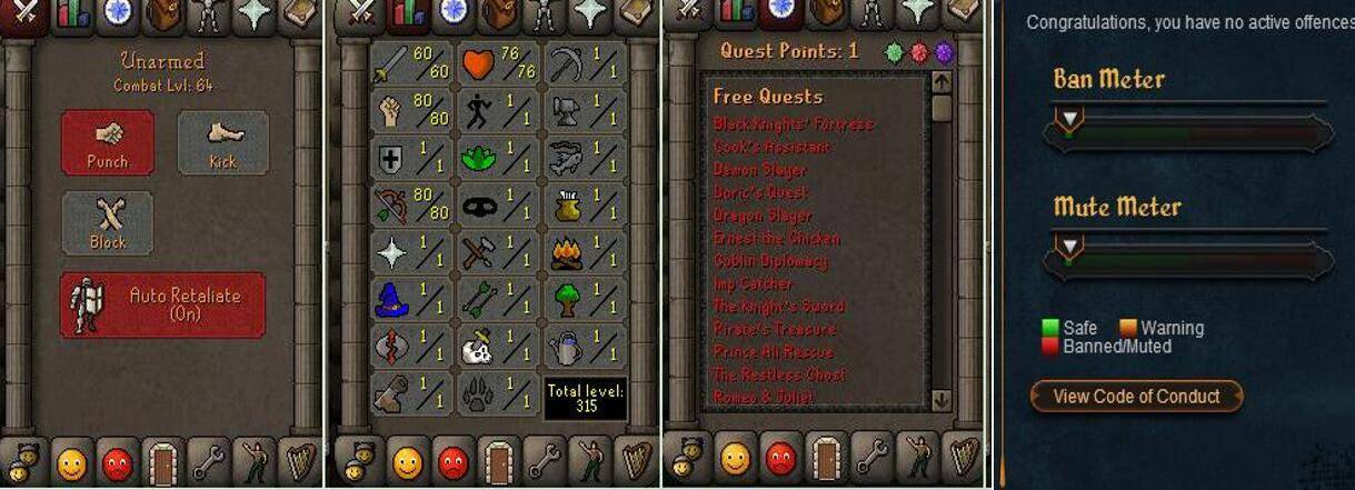 RuneScape CDKey : OldSchool Acc with att60 str80 def1 ranged 80 , it does not bind email ,so it is much safe to buyer.