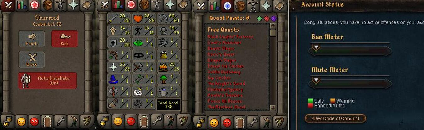 RuneScape CDKey : OldSchool Acc with att20 str34 def20 ranged 1 , it does not bind email ,so it is much safe to buyer.