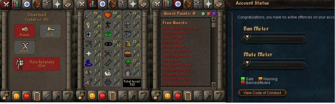 RuneScape CDKey : OldSchool Acc with att84 str99 def70 ranged 1 , it does not bind email ,so it is much safe to buyer.