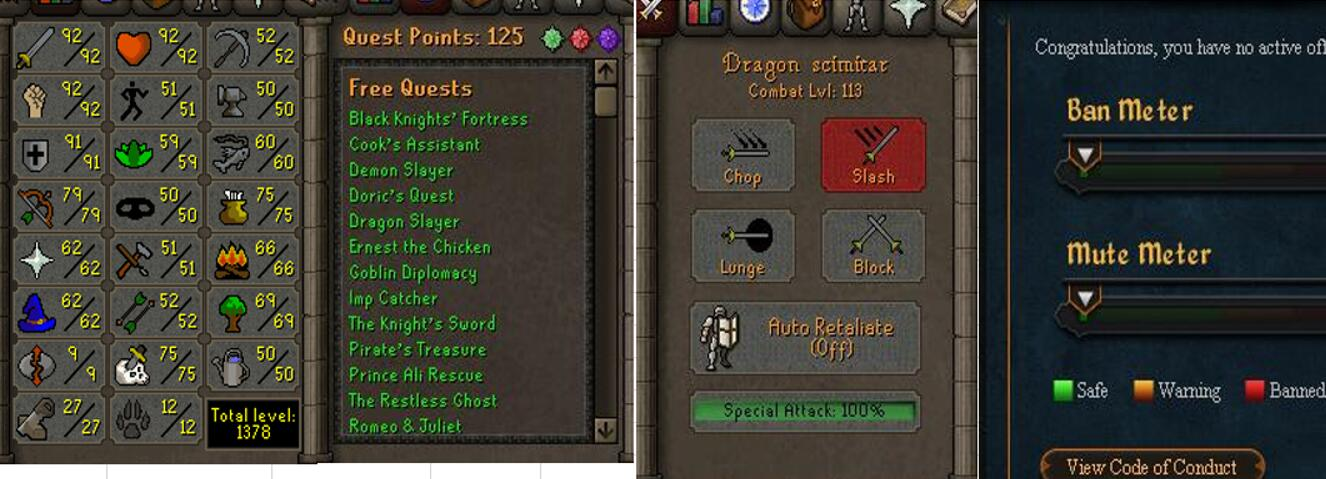 RuneScape CDKey : OldSchool Acc with att92 str92 def91 ranged 79 , it does not bind email ,so it is much safe to buyer.