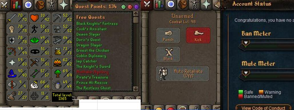 RuneScape CDKey : OldSchool Acc with att70 str78 def78 ranged 99 , it does not bind email ,so it is much safe to buyer.