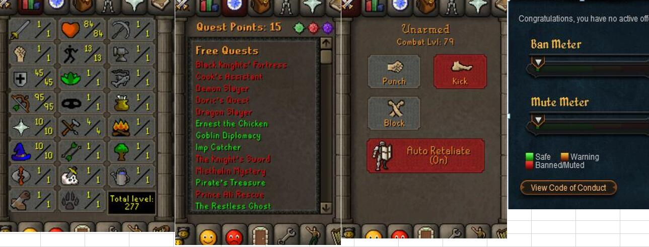 RuneScape CDKey : OldSchool Acc with att1 str1 def45 ranged 95 , it does not bind email ,so it is much safe to buyer.